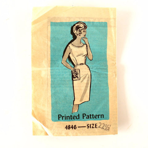 Vintage Women's Summer Dress Mail Order Pattern 4846 Size 22-1/2 (c.1950s) - ThirdShiftVintage.com