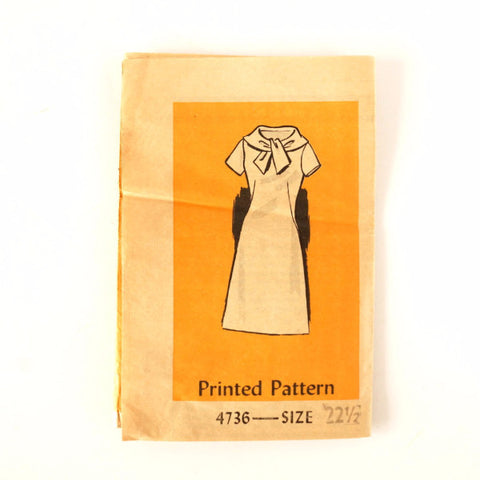 Vintage Women's Short Sleeved Dress with Sash Mail Order Pattern 4736, Size 22-1/2 (c.1950s)