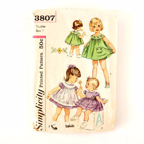 Vintage Simplicity Pattern 3807, Toddler's Dress Pinafore Panties, Size 1 (c.1950s)