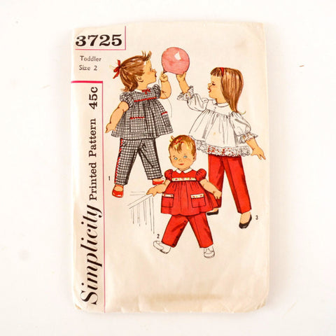 Vintage Simplicity Pattern 3725, Toddler's Pants and Top, Complete Toddler Size 2 (c.1950s) - thirdshift