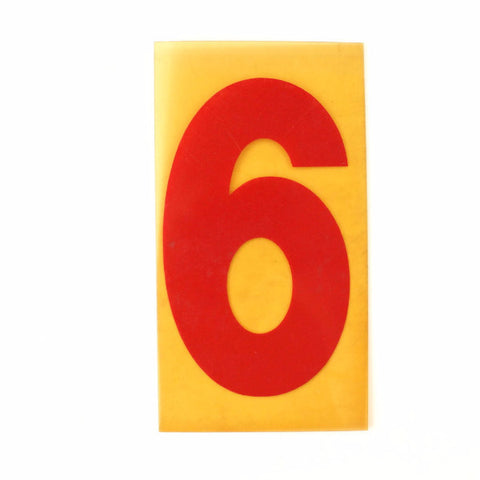 "Vintage Industrial Marquee Sign Number ""6"", Red Yellow Flexible Plastic, 7"" (c.1970s) - thirdshift"