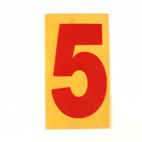 "Vintage Industrial Marquee Sign Number ""5"", Red Yellow Flexible Plastic, 7"" (c.1970s) - thirdshift"