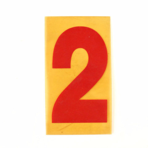 "Vintage Industrial Marquee Sign Number ""2"", Red Yellow Flexible Plastic, 7"" (c.1970s) - ThirdShift Vintage"