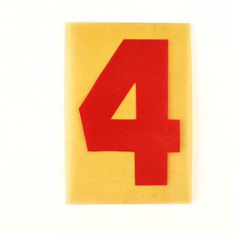 "Vintage Industrial Marquee Sign Number ""4"", Red Yellow Flexible Plastic, 7"" (c.1970s) - thirdshift"