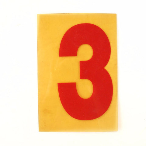 "Vintage Industrial Marquee Sign Number ""3"", Red Yellow Flexible Plastic, 7"" (c.1970s) - ThirdShiftVintage.com"