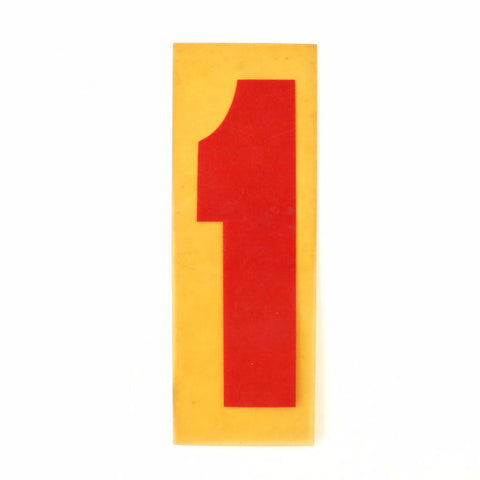 "Vintage Industrial Marquee Sign Number ""1"", Red Yellow Flexible Plastic, 7"" (c.1970s) - thirdshift"