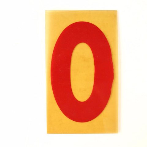 "Vintage Industrial Marquee Sign Number ""0"", Red Yellow Flexible Plastic, 7"" (c.1970s) - thirdshift"