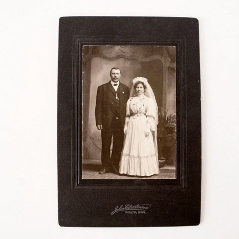 "Antique Photograph Cabinet Card of Wedding in Black and White from Duluth, MN, 6"" x 9"" (c.1890s) - ThirdShift Vintage"