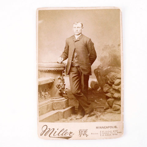 Antique Photograph Cabinet Card of Man from Minneapolis MN (c.1890s) - ThirdShift Vintage