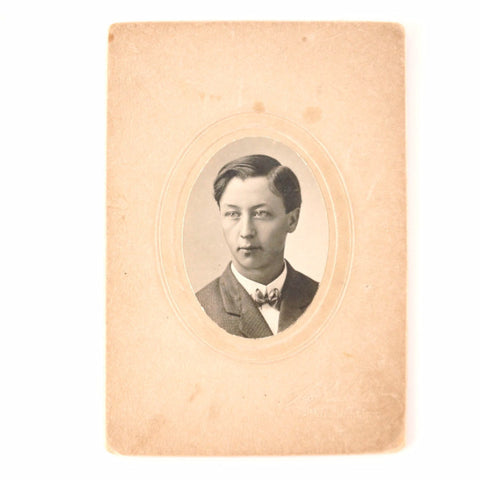 "Antique Photograph Cabinet Card of Man in Black and White, 4"" x 6"" from Grantsburg WI (c.1890s) - ThirdShift Vintage"