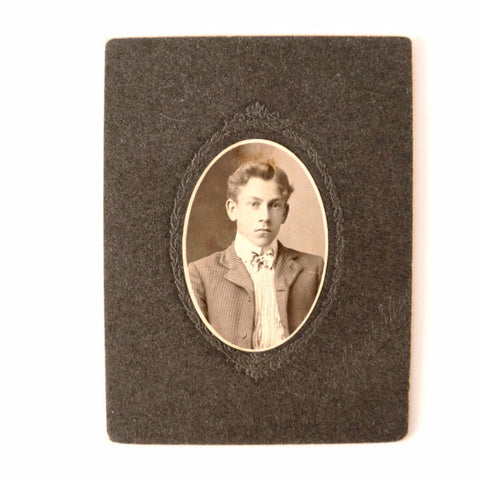Antique Photograph Cabinet Card of Young Man in Folder Frame (c.1890s) - ThirdShiftVintage.com