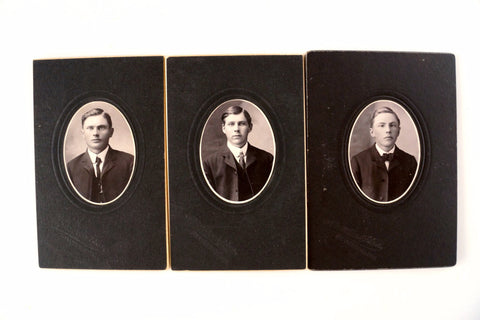 "Antique Photographs of 3 Young Brothers in Black and White, 3.5"" x 5"" from Grantsburg WI (c.1890s) - ThirdShift Vintage"