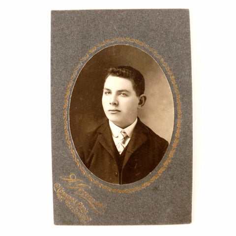 "Antique Photograph Cabinet Card of Young Man from Superior WI, 4"" x 6"" (c.1890s) - ThirdShift Vintage"