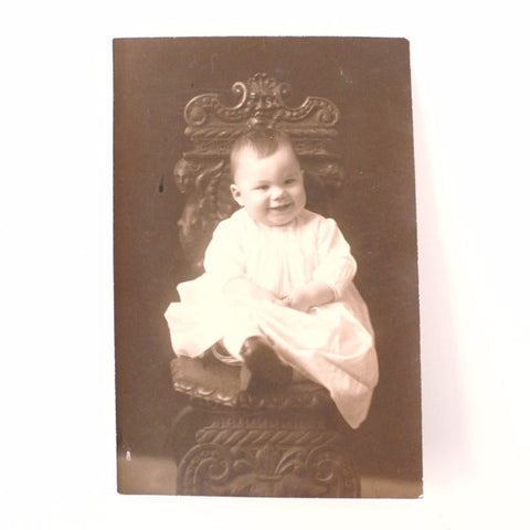 Antique Photograph of Baby in Black and White (c.1890s) - ThirdShiftVintage.com