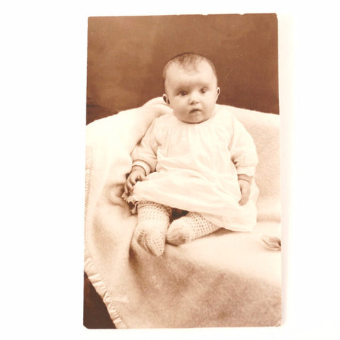 "Antique Photograph Post Card of Baby in Black and White, 4"" x 6"" (c.1890s) - ThirdShift Vintage"