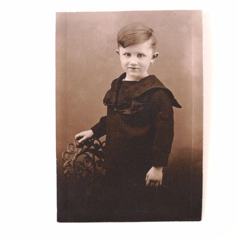 "Antique Photograph of Young Boy in Black and White, 3"" x 5"" (c.1890s) - ThirdShift Vintage"