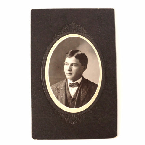 "Antique Photograph Cabinet Card of Young Man in Black and White, 4"" x 6"" (c.1890s) - ThirdShift Vintage"