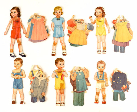 "Vintage Paper Doll Children ""Janey, Peggy, Pam, Jimmy, Tommy, Ted"" 47 pieces (c.1940s) - ThirdShift Vintage"