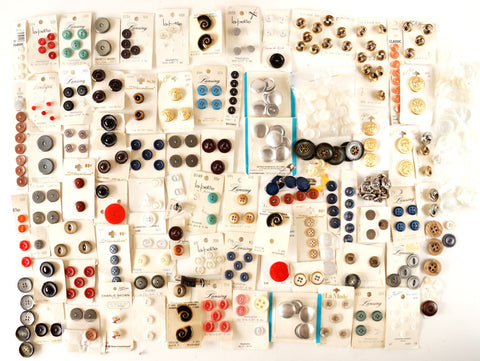 Vintage Button Collection, Tin Filled with 503 Buttons on Original Cards (c.1960s)