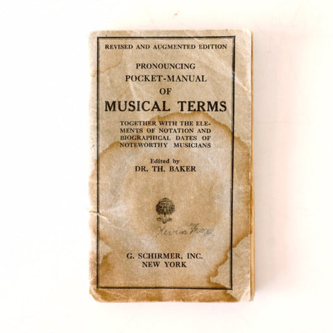 "Vintage ""Pronouncing Pocket Manual of Musical Terms"" Book (c.1936) - ThirdShift Vintage"