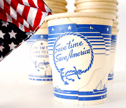 "Vintage ""Save Time, Save America"" World War II Paper Coffee Cup with Fold Out Handles (c.1940s) - ThirdShift Vintage"
