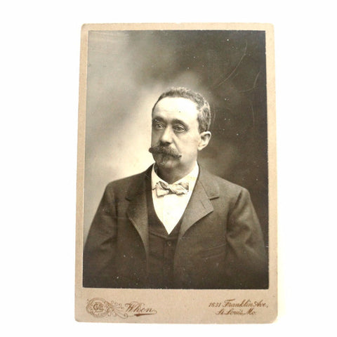 Antique Photograph Cabinet Card of Man from St. Louis Missouri (c.1880s) - ThirdShift Vintage