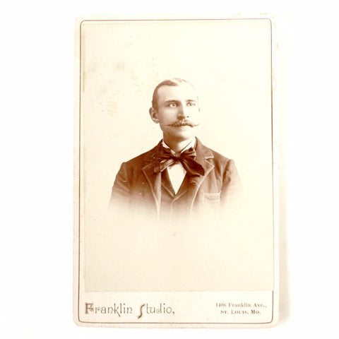 Antique Photograph Cabinet Card of Man with Moustache from St. Louis Missouri (c.1880s) - ThirdShiftVintage.com