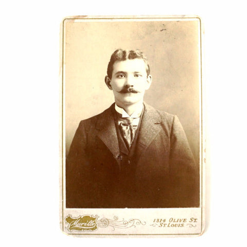 Antique Photograph Cabinet Card of Man with Mustache from Missouri (c.1880s) - ThirdShift Vintage
