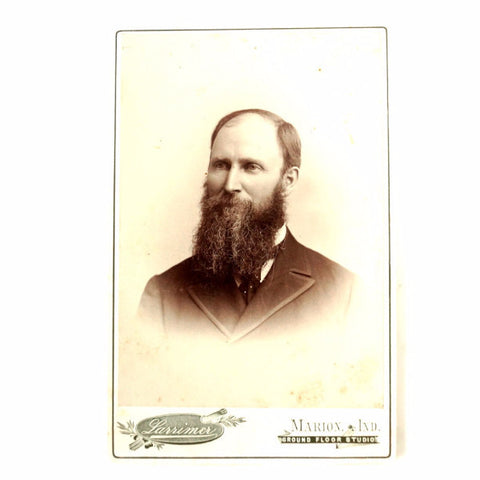 Antique Photograph Cabinet Card of Bearded Man from Indiana (c.1880s) - ThirdShiftVintage.com
