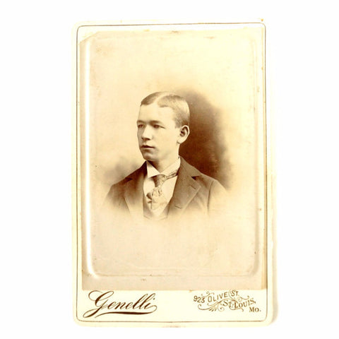 Antique Photograph Cabinet Card of Young Man from St. Louis Missouri (c.1880s) - ThirdShift Vintage