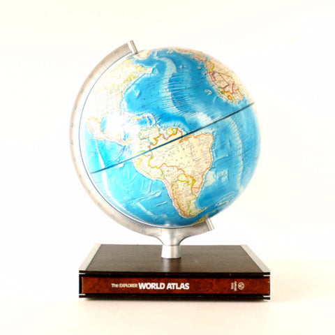 Vintage Rand McNally International World Globe with Hardcover Atlas in Stand (c.1978) - ThirdShift Vintage