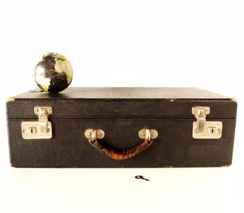 Vintage Black Hard Sided Storage Case with Leather Handle and Key (c.1930s) - thirdshift