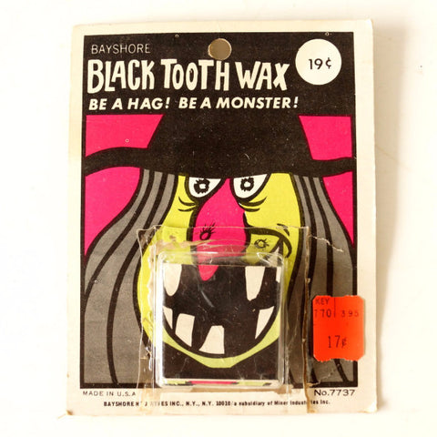 Vintage Black Tooth Wax, Halloween Costume Collectible in Original Package (c.1970s) - thirdshift