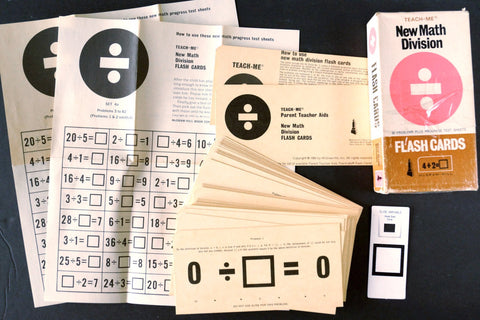 "Vintage Teach-Me New Math Division Flash Cards, Complete Set of 41, 6"" cards (c.1965) - thirdshift"