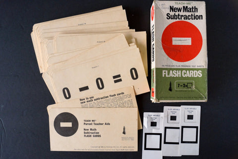 "Vintage Teach-Me New Math Subtraction Flash Cards, Complete Set of 50, 6"" cards (c.1965) - thirdshift"