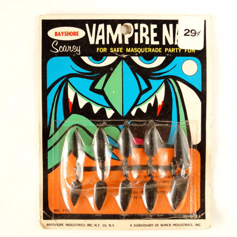 Vintage Halloween Vampire Nails Collectible in Original Package by Bayshore (c.1970s) - ThirdShiftVintage.com