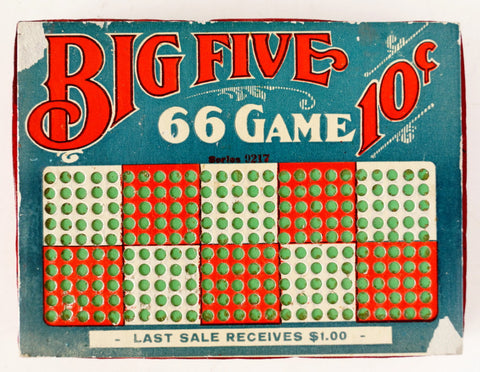 Vintage Big Five 66 Game Unused 10 Cent Punch Board with Key (c.1940s)