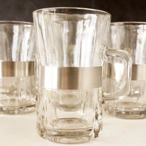 Vintage Beverage Mugs with Handles and Brushed Steel Band, Set of 8 (c.1950s) - thirdshift