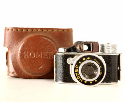 Vintage Miniature Homer Spy Camera with Original Leather Case (1950s) - thirdshift