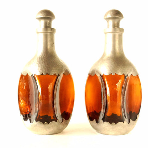 Vintage Amber and Pewter Decanters, Royal Holland Daalderop, Set of 2 (c.1930s) - ThirdShiftVintage.com
