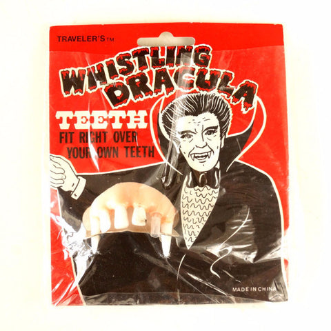 Vintage Halloween Whistling Dracula Teeth Collectible in Original Package (c.1970s) - ThirdShiftVintage.com