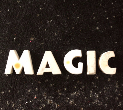 "Vintage White Ceramic Push Pins ""MAGIC"" (c.1940s) - thirdshift"