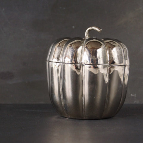 Vintage Silver-Plate Pumpkin Trinket Holder (c.1950s) - thirdshift