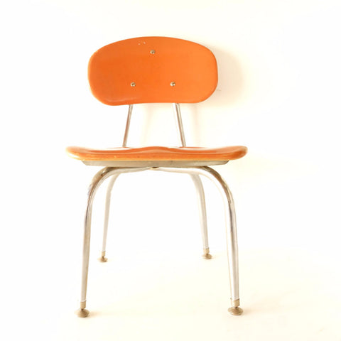 Vintage School Chair, Chrome and Orange Composite, C.F. Church Corex (c.1950s) N3 - ThirdShiftVintage.com