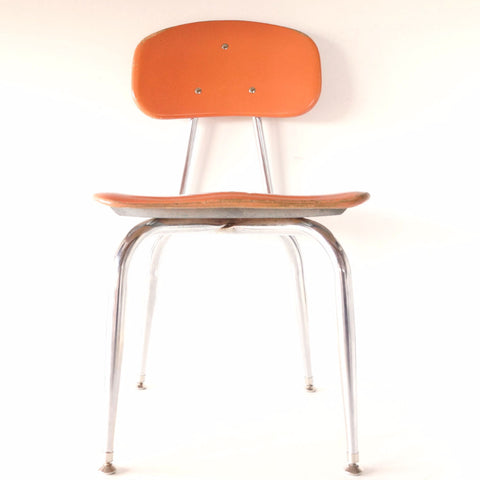 Vintage School Chair, Chrome and Orange Composite, C.F. Church Corex N2 (c.1950s) - ThirdShiftVintage.com