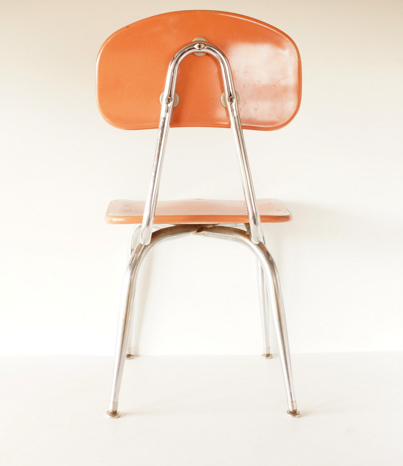 Vintage School Chair Chrome and Orange posite C F Church