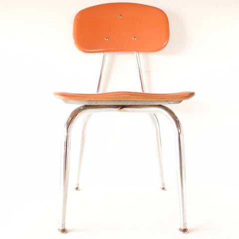 Vintage School Chair, Chrome and Orange Composite, C.F. Church Corex N1 (c.1950s) - thirdshift