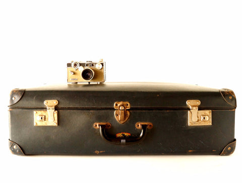 Vintage Metal Airway Luggage in Black by E.J. Gausepohl Luggage Shop (c.1900s) - ThirdShiftVintage.com