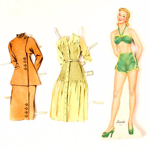 "Vintage Wood Paper Doll ""Sandy"" with Clothing, made by Whitman (c.1940s) - ThirdShiftVintage.com"