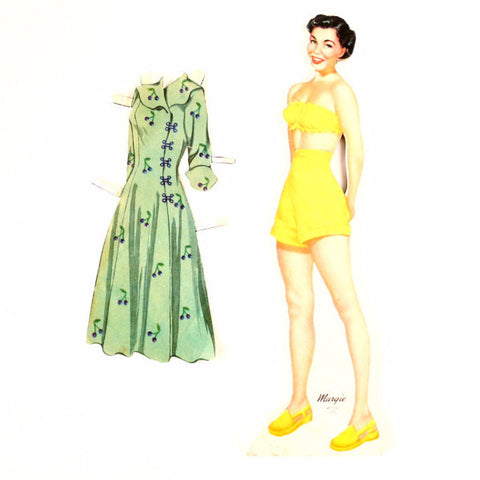 "Vintage Wood Paper Doll ""Margie"" with Clothing, made by Whitman (c.1940s) - ThirdShiftVintage.com"